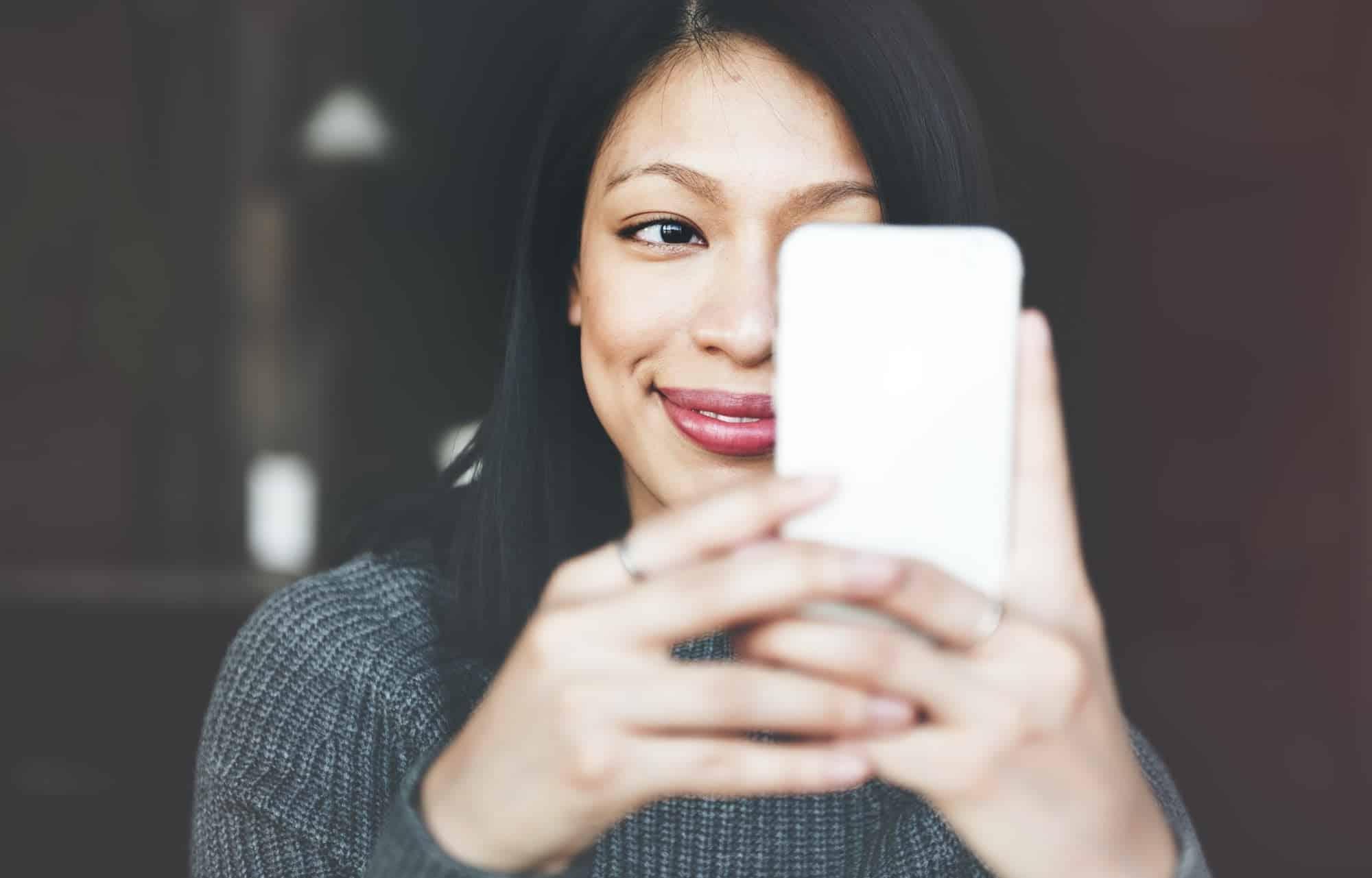 Portrait Smiling Technology Selfie Mobile Phone